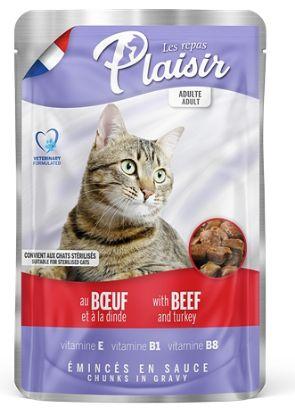 Obrázek Plaisir Cat hovězí & krocaní, kapsička 100 g