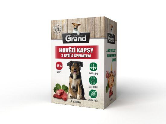 Obrázek z Grand deluxe Dog hovězí, kapsička 4 x 300 g