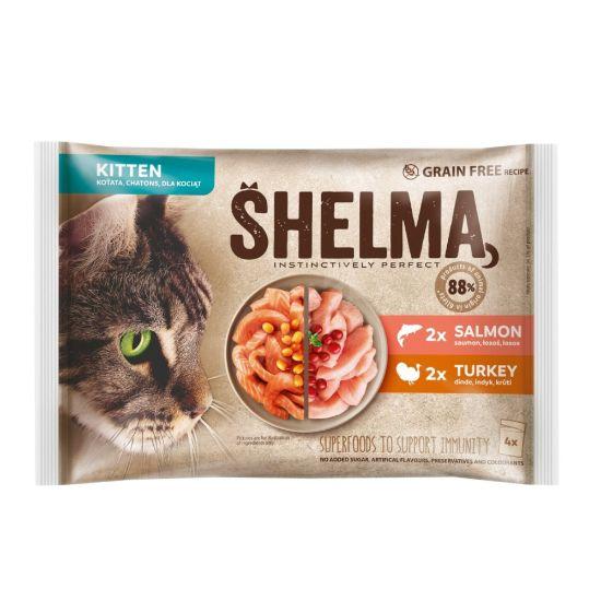Obrázek z SHELMA Cat Kitten losos 2 x , krůta 2 x, kapsa 85 g (4 ks)