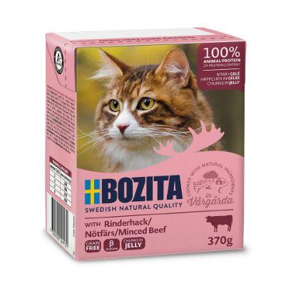 Obrázek Bozita Cat kousky v želé s mletým hovězím, kapsička 370 g